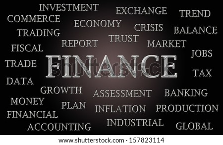 Finance word cloud written in luxurious chrome letters