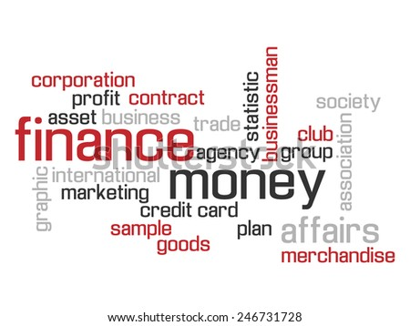 FINANCE WORLD CLOUD CONCEPT TEST AND MORE RED - stock photo