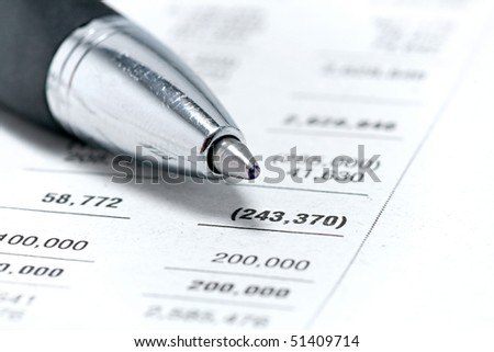 Finances statement with Pen