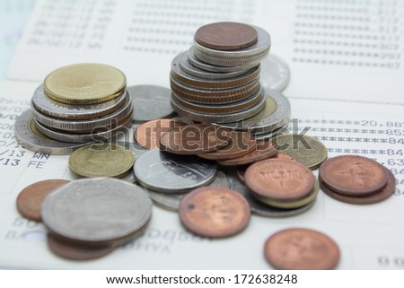financial account book and money