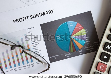 Financial accounting of profit summary graphs analysis - stock photo