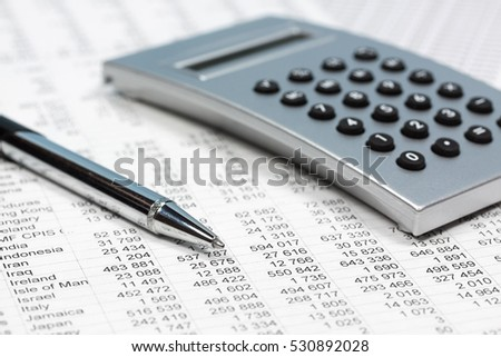 Financial accounting pen and calculator