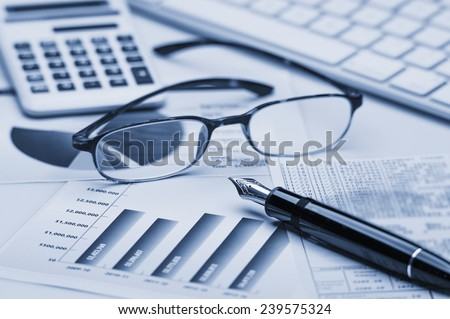 Financial accounting stock market graphs analysis  - stock photo