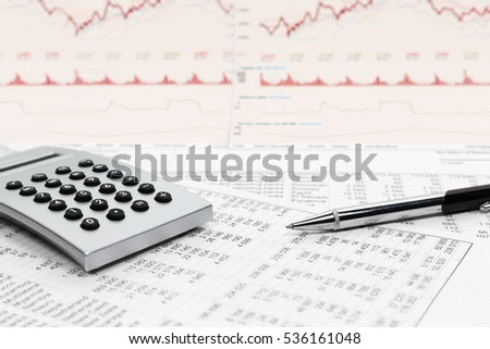 Financial accounting stock market graphs and charts analysis