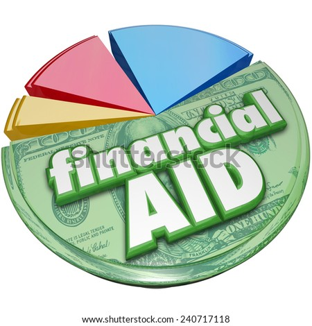 Financial Aid 3d words on a pie chart of money, support, assistance or help for college or meeting daily expenses such as food, energy and other needed spending - stock photo