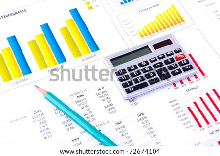 Financial Analysis with charts and data  of progress in industry - stock photo