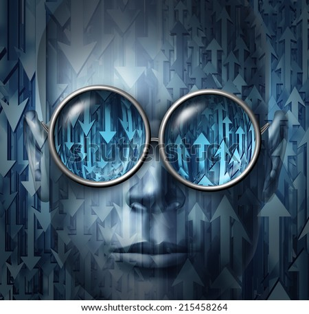 Financial analyst and stock broker business concept as a face wearing glasses with arrows going up and down as a metaphor for having the vision for forecasting and analyzing economic direction. - stock photo