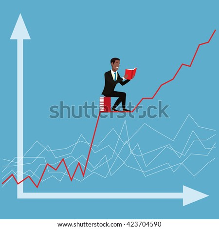 Financial analyst on the background of the chart. African American Businessman sitting on a pile of books and holding an open book in his hands. Man reading book. White red graph on a blue background - stock photo