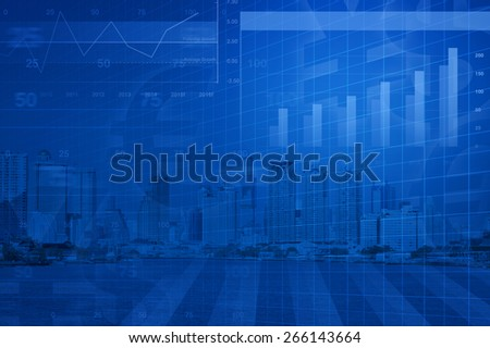 Financial and business chart and graphs on city background, success concept - stock photo