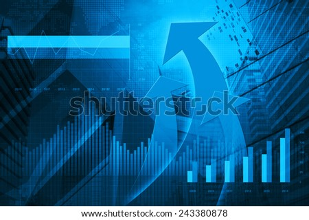 Financial and business chart and graphs with arrow head, success concept - stock photo