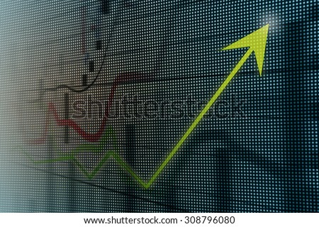 Financial and business graphs, Finance concept on led screen - stock photo