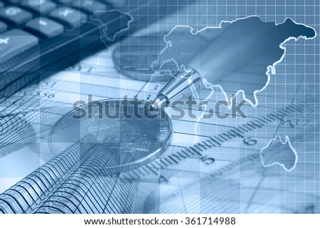 Financial background in blues with money, calculator, table and pen. - stock photo
