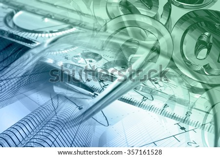 Financial background in greens and blues with buildings, ruler, graph and pen. - stock photo