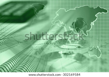 Financial background in greens with map, calculator, buildings and pen.