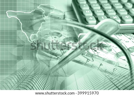 Financial background in greens with map, calculator, graph, glasses and pen. - stock photo
