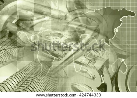 Financial background in sepia with buildings, graph and map. - stock photo