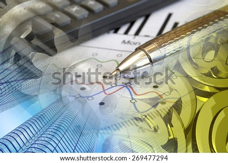 Financial background with buildings, calculator, graph and pen. - stock photo