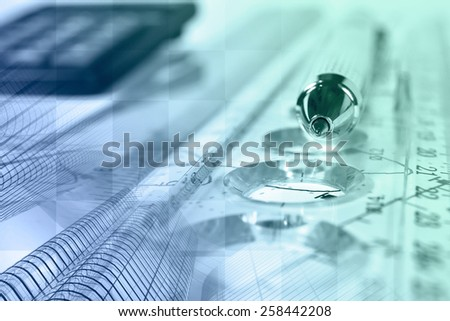 Financial background with buildings, calculator, graph and pen, in greens and blues. - stock photo