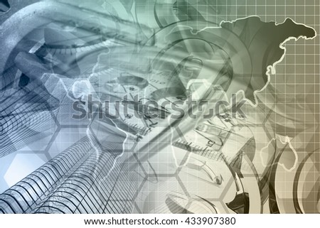 Financial background with buildings, map, and mail signs, toned. - stock photo