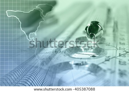Financial background with map, buildings, ruler, graph and pen, in greens and blues. - stock photo
