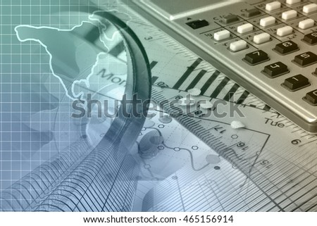Financial background with map, calculator, graph and buildings, toned.