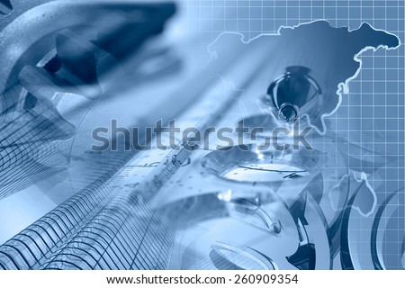 Financial background with map, gear, buildings, graph and pen, blue toned. - stock photo