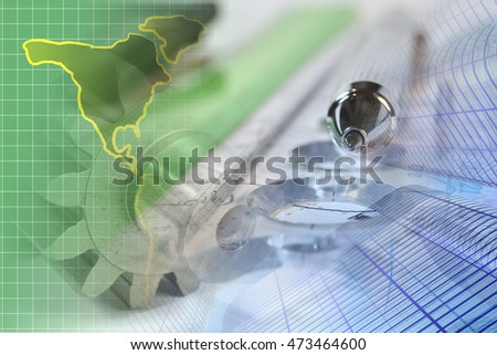 Financial background with map, ruler, buildings and pen.