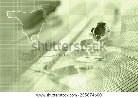Financial background with map, ruler, buildings, graph and pen, sepia toned. - stock photo