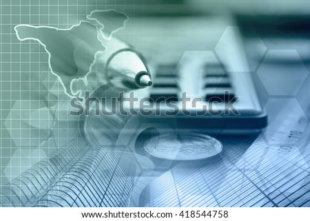 Financial background with money, calculator, map and pen, in greens and blues. - stock photo