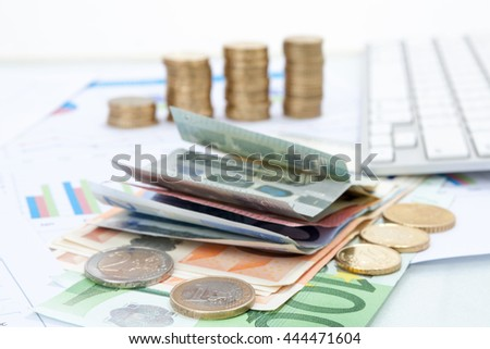 Financial background with money Euro, Dollar including marketing plan and forecast graph analyzing .  - stock photo