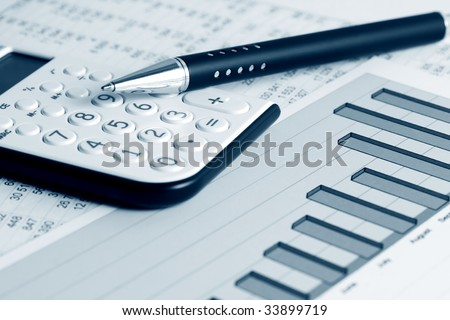 Financial balance and business reports. - stock photo