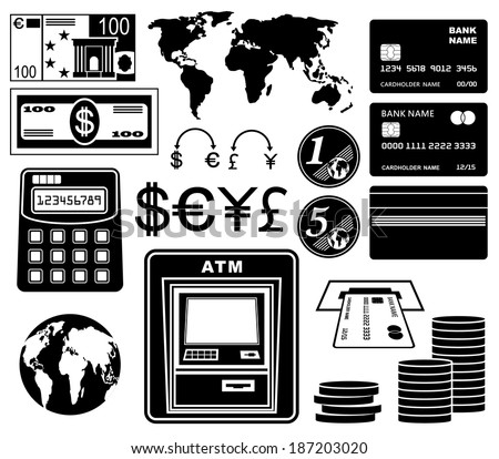Financial, bank set of icons. Raster illustration.  - stock photo
