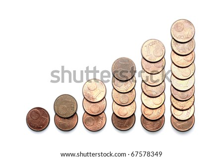 Financial bar graph made of EU cents isolated on white