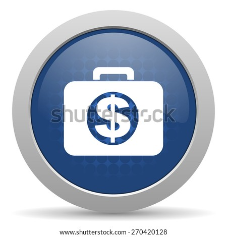 financial blue glossy web icon  - stock photo