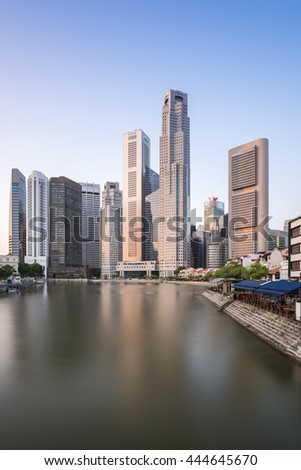 Financial Building with river at Marina Bay Area in the morning with empty sky for add some text, logo, image, etc.