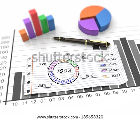 Financial business chart and economic development - stock photo