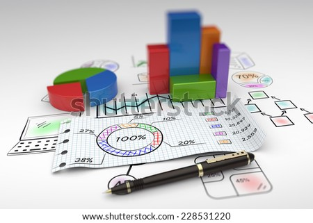 Financial business chart and economic development - stock photo