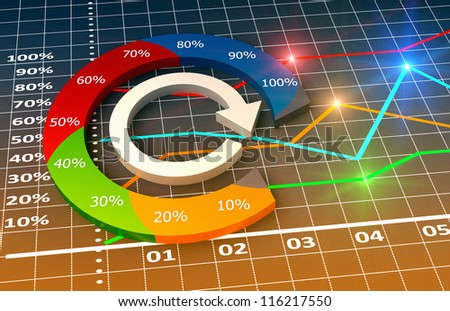 Financial  business chart and graphs - stock photo