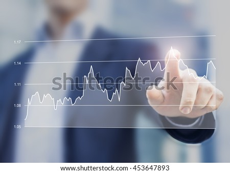Financial business graph on computer interface with hand of businessman touching the chart
