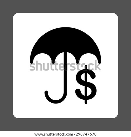 Financial Care icon from Commerce Buttons OverColor Set. Glyph style is black and white colors, flat square rounded button, gray background.