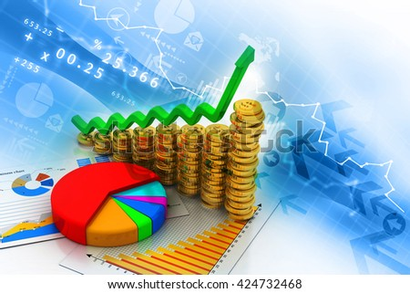 Financial chart and graphs background. stock market anylis.3d render  - stock photo
