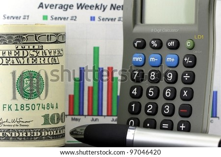 Financial Chart, Calculator and US Currency One Hundred Dollar Bills.