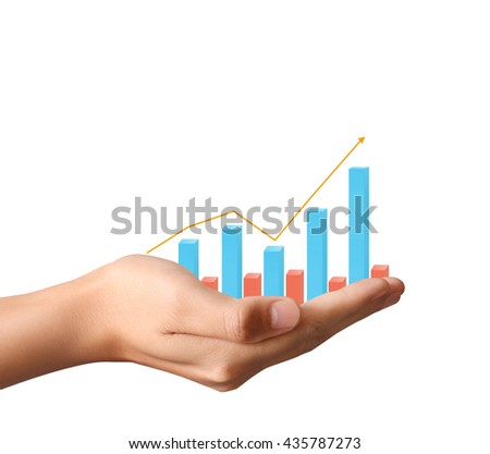 financial chart symbols coming from a hand