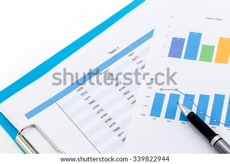 financial charts and Business graphs on the table