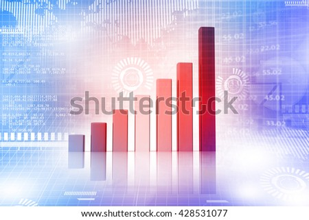 Financial charts and graphs. 3d render