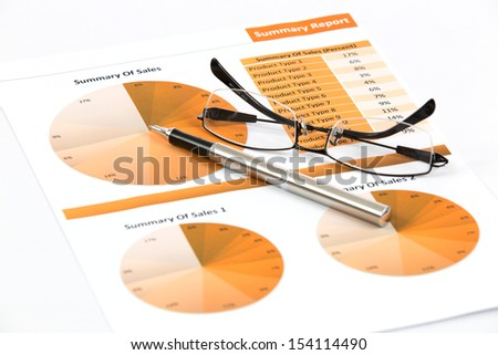 financial charts and graphs white background - stock photo