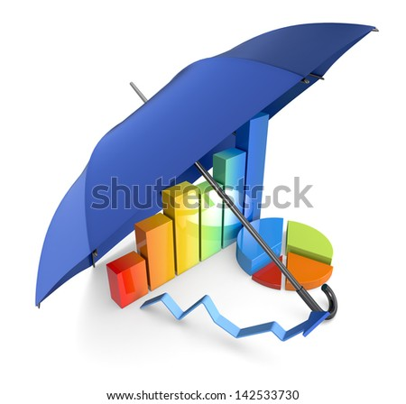 financial charts under an umbrella, concept of security and protection of investments (3d render)