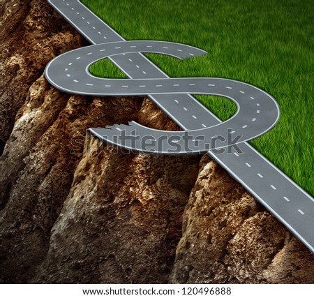 Financial cliff or fiscal risk and dangerous challenges regarding investing and finance management pit falls with a highway in the shape of a dollar symbol on the edge of a hazardous rock cliff.