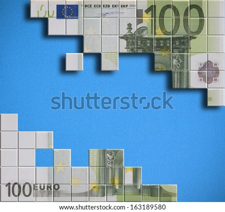 Financial concept - abstract European currency banknote puzzle - stock photo