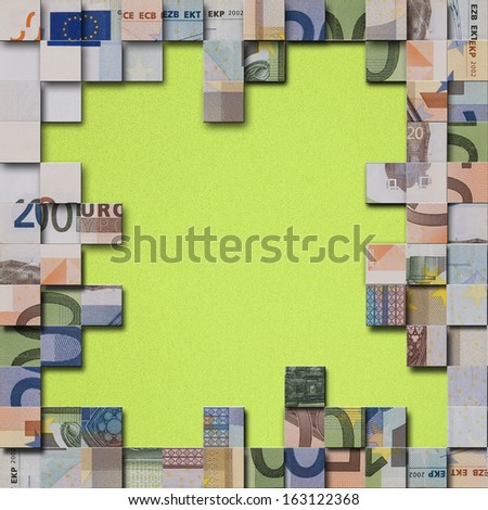 Financial concept - abstract European currency banknotes puzzle - stock photo